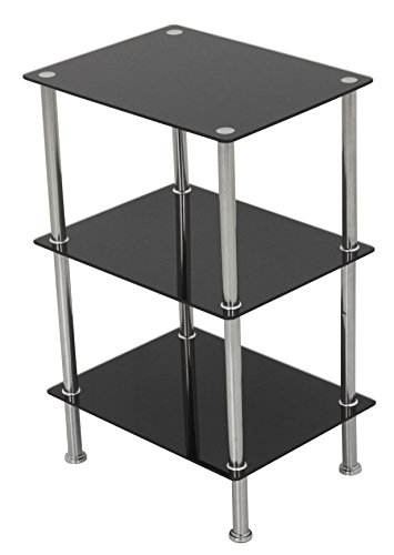 AVF S33-A Small 3 Tier Shelving Unit in Black Glass & Chrome