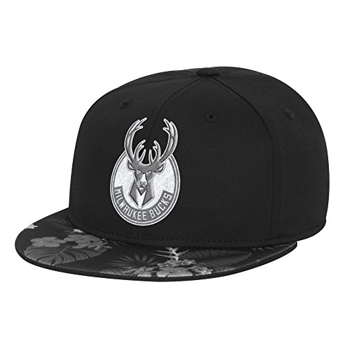 fan products of NBA Milwaukee Bucks Men's Fanwear Hawaiian FVF Cap, Small/Medium, Black