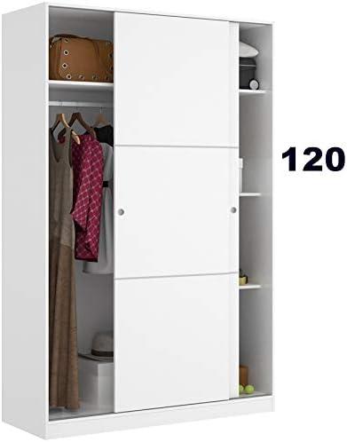 Armario Puertas correderas STEL 120 cm de Ancho Alto 204cm Blanco Brillo: Amazon.es: Hogar