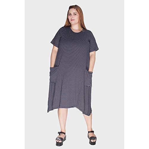 Vestido Evasê Listrado Com Bolsos Plus Size Preto-52/54