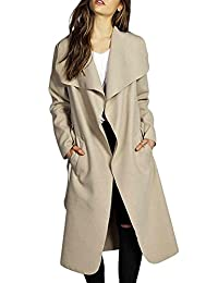 VamJump Womens Winter Autumn Long Wool Cardigan Trench Coat Outerwear Belted