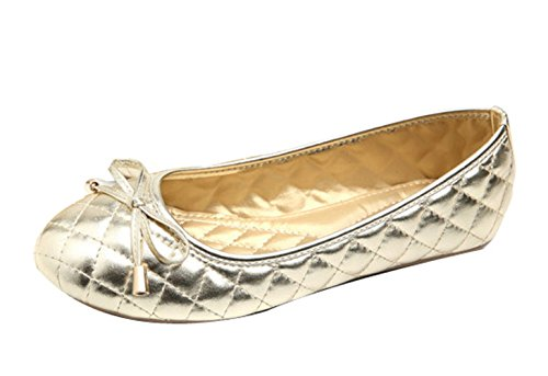 Flats with Toe 5 Bow 7 Shoes Women's Round CHICKLE Gold tfqUw1FX