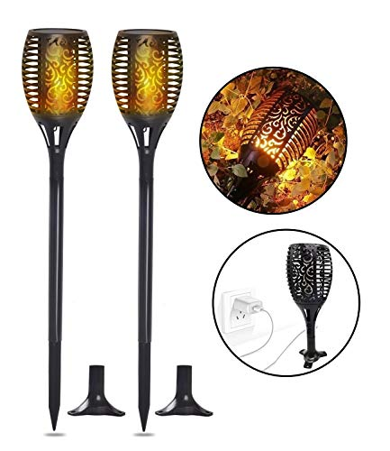 Solar Torch Lights, Waterproof Flickering Flame Solar Torches Dancing Flames Landscape USB Charging Decoration Lighting Dusk to Dawn Outdoor Security Path Light for Garden Patio Yard Driveway 2 Pack