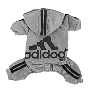 Scheppend Adidog Pet Clothes for Dog Cat Puppy Hoodies Coat Winter Sweatshirt Warm Sweater,Grey Small