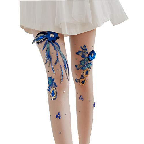 ToBe-U Women's High Waist Fishnet Stockings Sparkle Hollow Out Rhinestone Fishnet Pantyhose Tights (Womens Tattoo Tights)