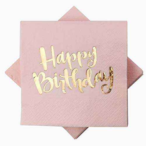 Pink Happy Birthday Cocktail Napkins 100Counts 3ply /5'' Disposable Rose Gold Foil Paper Napkins Perfect for Happy Birthday Party Weekend Party Birthday for Girls (Pink with Gold Foil Happy -
