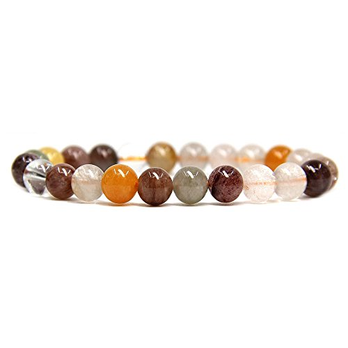 Natural Multicolor Rutilated Quartz Gemstone 8mm Round Beads Stretch Bracelet 7
