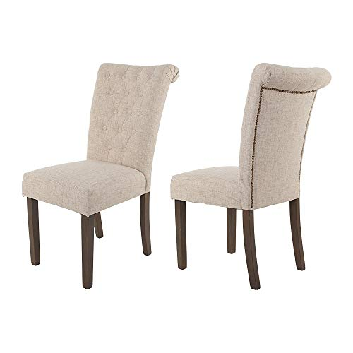 Merax Classic Upholstered Fabric Dining Chairs Tufted Cushion Seat with Solid Wood Legs for Living Room Chairs Set of 2 (Beige)