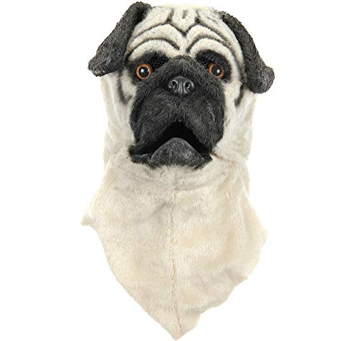 Animotion Halloween Masks (Elope Inc Pug Dog Mask Halloween Costume Accessory for Adults, One)