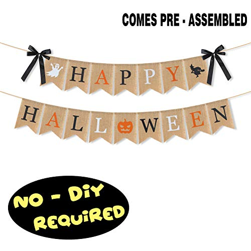 Happy Halloween Pumpkins White (LINGPAR Highly Recommended Happy Halloween Burlap Banner - Multicolored Design Pumpkin Witch Halloween Party Decorations White Black)