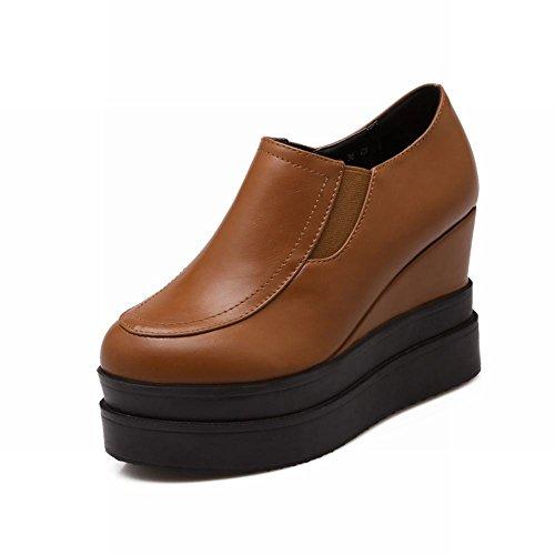 Hielen Schoenen Damesmode Retro Casual Platform Hoge Sleehak Instappers Schoenen Bruin