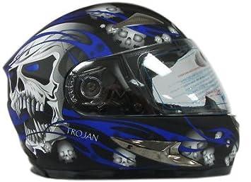 Viper rs-44 calavera motocicleta casco en negro y azul