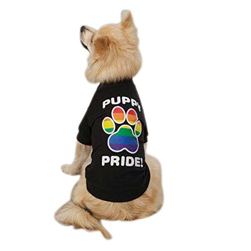 Cheap Casual Canine Puppy Pride Tee Shirt for Dogs, 14″ Small/Medium, Black