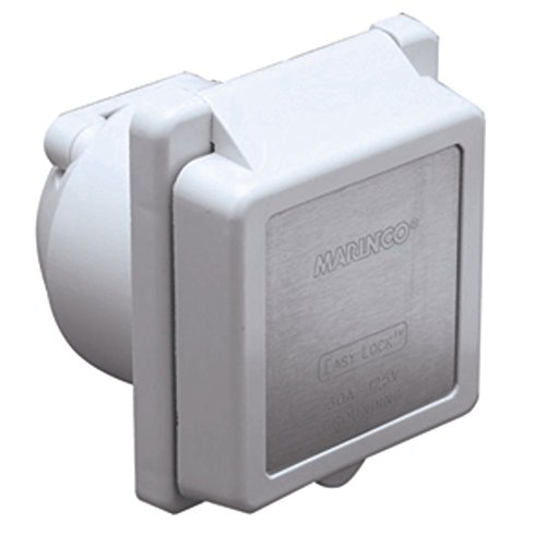 - Marinco 301EL-B 30A Power Inlet - White - 125V Marine , Boating Equipment