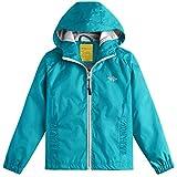 Wantdo Girl's Lightweight Hooded Rain Jacket Waterproof Outwear Rain Coat Hiking(Blue, 8)