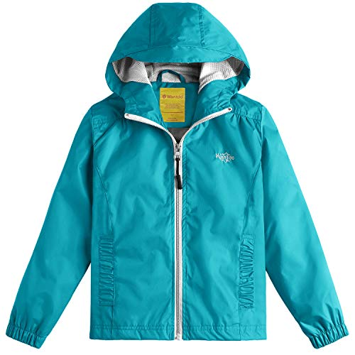 Wantdo Girl's Lightweight Hooded Rain Jacket Waterproof Outwear Rain Coat for Hiking