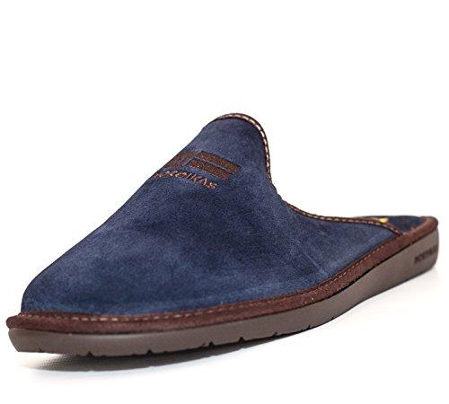 Chaussons en velour bleu marine