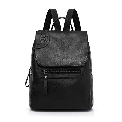 Women Vintage Mynos Black Bag Shoulder Faux Flip Travel Leather Cover Backpack Rucksack Purse tHAdAw