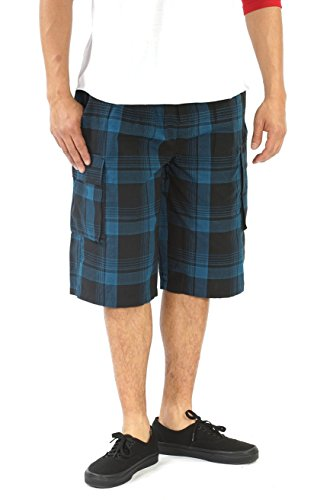YAGO Men's Elastic Waist Shorts - Loose Fitting with Drawstring Checkered Pattern Below-The-Knee Cargo Shorts YG2613BC (X-Large, Black/Teal (E45)) Plaid Knee Shorts