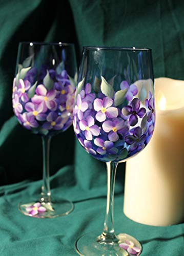 (Hand Painted Wine Glasses - Violets on Cobalt Blue glass (Set of 2))