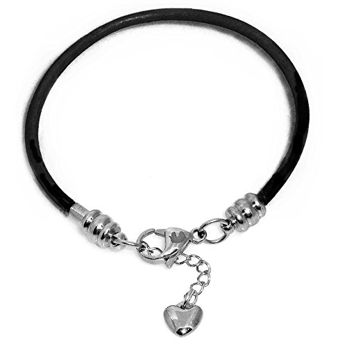 Timeline Treasures Charm Bracelet For Women, Black Leather and Steel, Fits...