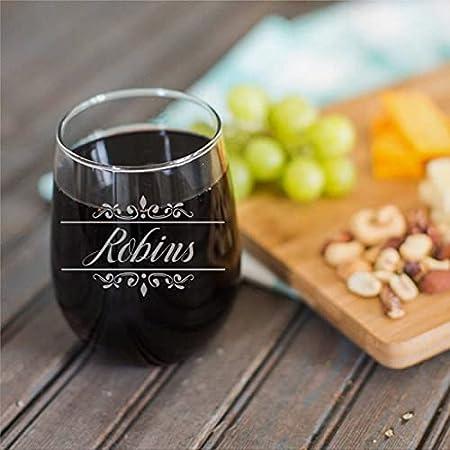 Taza de vino sin tallo, diseño personalizado de 15 onzas con nombre en taza de vino transparente medio para vino tinto y blanco