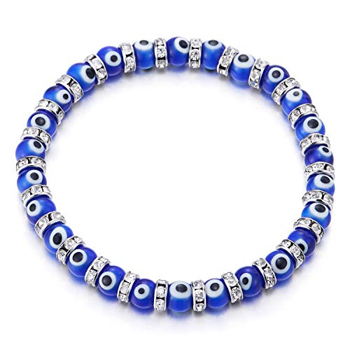 COOLSTEELANDBEYOND Womens Blue Murano-Style Glass Evil Eye Beads Bracelet with Cubic Zirconia Bead Charms, Stretchable