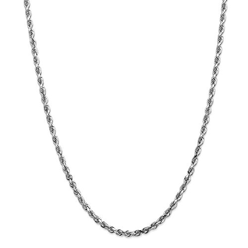 Solid 14k White Gold Big Heavy 4mm Diamond-Cut Quadruple Rope Chain Necklace 22