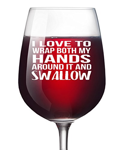 Funny Bachelorette Party Wine Glass - I Love to Wrap Both My Hands Gag Gift for Women Best Friend Hen Party Funny Gay Bachelor Party Favor for Men (Unique Bridal Party Gifts)