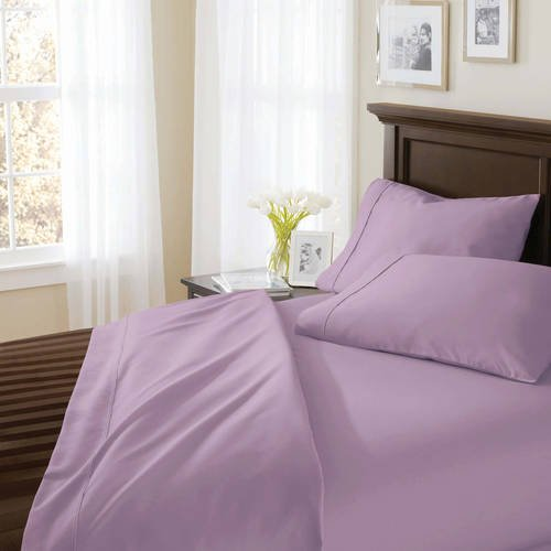 Better Homes and Gardens.. 400 Thread Count Solid Egyptian Cotton True Grip Bedding Sheet Set (QUEEN, LAVENDER)