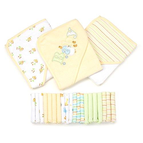 Spasilk 23-Piece Essential Baby Bath Gift Set, Yellow