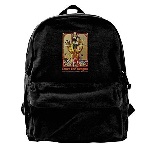 WUHONZS Canvas Backpack Cool Funny Bruce LEE Enter The Dragon Movie Poster Rucksack Gym Hiking Laptop Shoulder Bag Daypack for Men Women