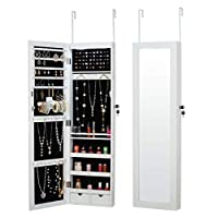 Fineboard LED Wall Mounted Jewelry Cabinet with Mirror and 2 Small Drawers, White