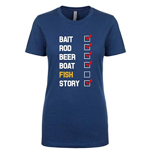 Mad Over Shirts Bait Rod Beer Boat Fish Story Premium Women's Small N Blue T Shirt