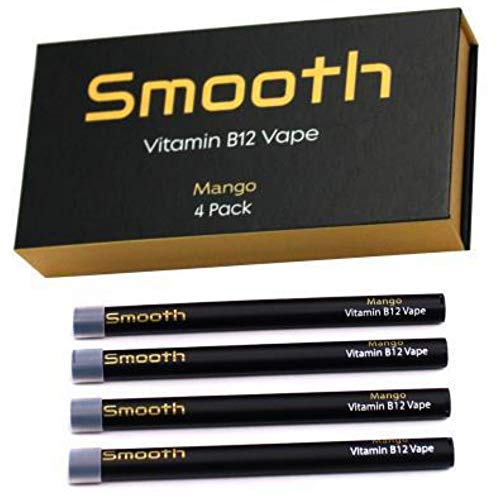 Smooth Vitamin B12 Pen for Energy: All Natural, Vegan-Friendly Vitamin B12 Inhalable Aromatherapy | Great Taste, No Calories, Nicotine Free | Mango Flavor (4 Pack)