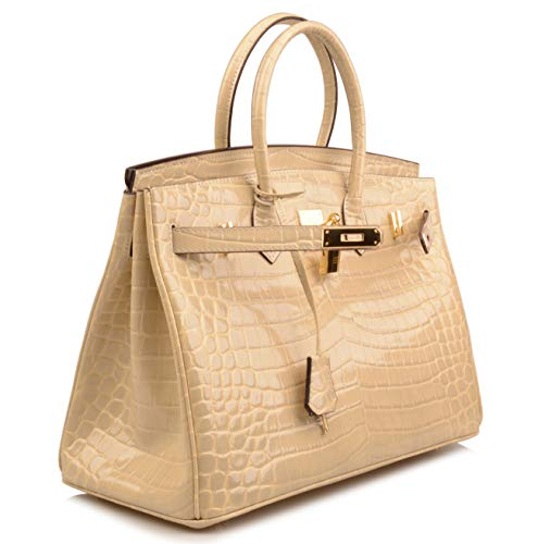 Qidell Women's Padlock Patent Leather Crocodile Embossed Handbag On Clearance (35 cm.Taupe) by QIDELL (Image #2)