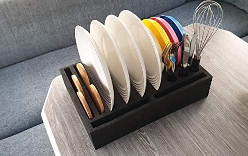 41RI21JesOL SCHAUMEX® Tellerhalter und Besteckhalter mit Platz für 12 Teller - kleine und große Teller auch Suppenteller - Für…