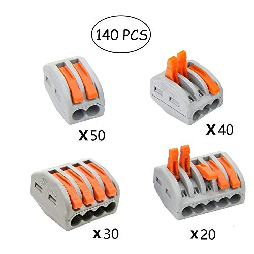 Kalolary Wire Connectors-Insulated Wiring Terminals Wire Connectors,Assortment Conductor Compact Wire Connectors,4 Kinds of Lever-Nut(PCT-212, PCT-213,PCT-214,PCT-215, 140PCS)