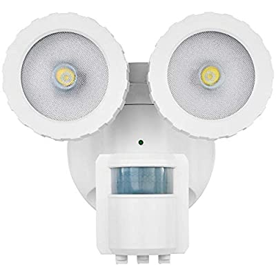 Defiant 180-Degree White Solar Powered Motion Activated Outdoor Integrated LED Flood Light