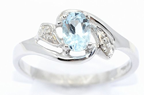 - Elizabeth Jewelry Genuine Aquamarine & Diamond Oval Ring .925 Sterling Silver Rhodium Finish