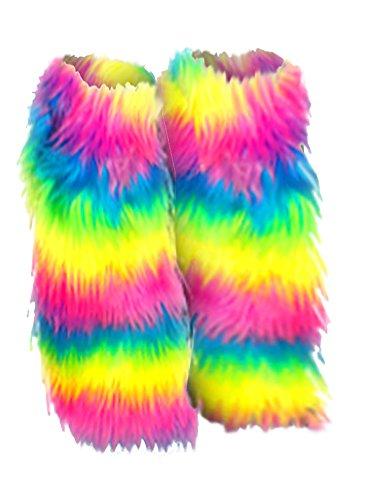 Plus Size Furry Unicorn Rainbow Faux Fur Leg Warmer Fluffies Fits 1x to 4x