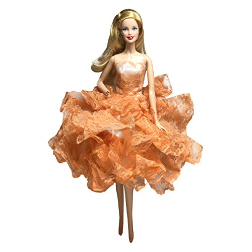 - Orange Ball Gown Strapless Layers of Organza Orange Dress Fits For Barbie Doll
