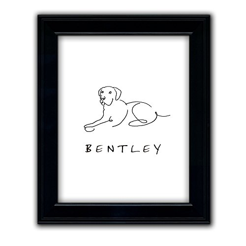 Retriever Print (Lab Labrador Retriever - Personalized Framed Dog Line Drawings - Perfect and Unique Gift for Dog Lovers!)