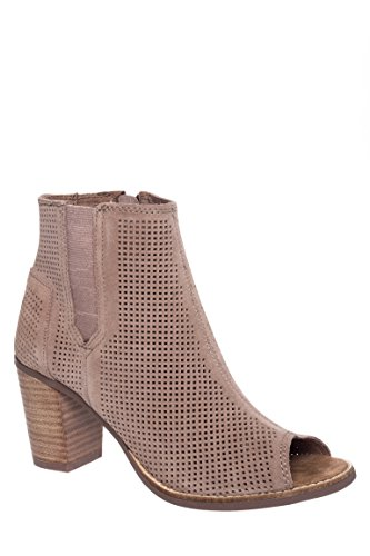 Toms Majorca Peep Toe Booties Stucco Suede Perforated Wom...