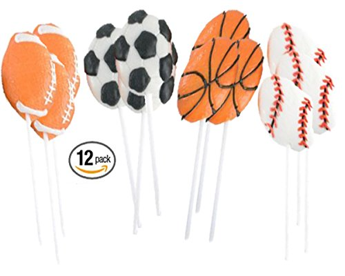 Playo Kids Sports Lollipops - Pack of 12 Children Sports Ball Sucker Lollipops Party Favors - Sports Birthday Party (Lollipop Favors)