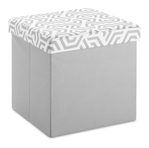 Whitmor Collapsible Storage Ottoman Paloma Gray Geo Wheel - Storage Ottoman Wheels
