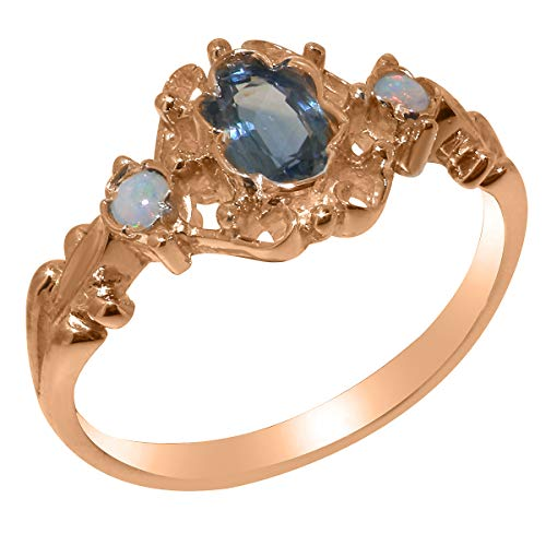 LetsBuyGold 10k Rose Gold Natural Sapphire & Opal Womens Anniversary Ring - Size 6.25 (Estate Ring Sapphire Gold)