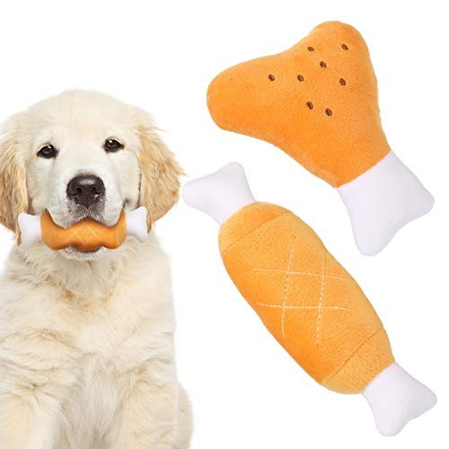 ADAKEL 2 Pieces Pet Dog Plush Chew Toys Pet Squeaky Toys with Squeakersfor Small Medium Dogs