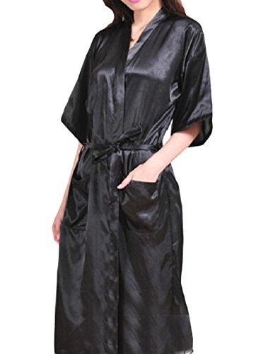 Vska Women Pure Colour Charmeuse Open-Front Silk Full Length Kimono Gown Black ()