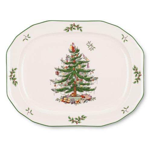 Spode Christmas Tree Sculpted Octagonal Platter, - Warehouse Tree Christmas